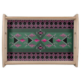 Birds and grapes green and pink kilim pattern serving tray