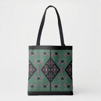 Birds and grapes green and pink kilim pattern tote bag