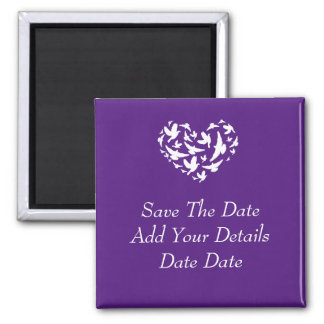Birds and hearts Purple Save The Date Magnet