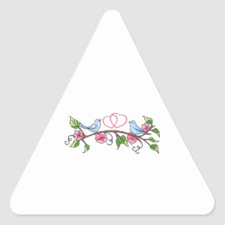 BIRDS AND HEARTS TRIANGLE STICKER