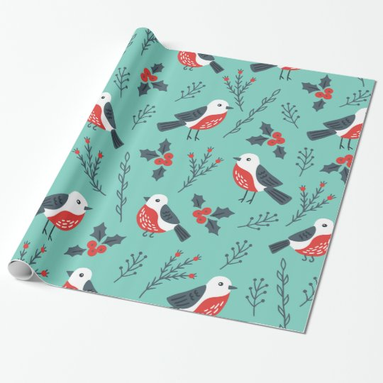 Birds and Holly Berry Christmas Pattern Wrapping Paper