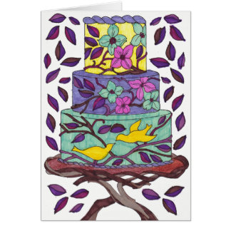 Birds and Leaves Cake Card