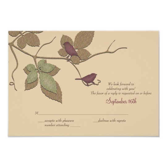Birds and Leaves Fall Wedding Reply Card
