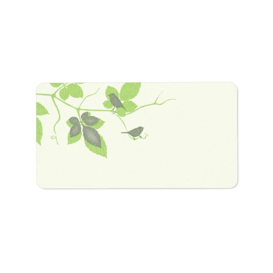 Birds and Leaves Wedding Blank Address Labels