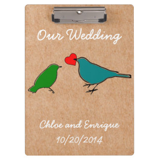 Birds And Love Heart Cute Personalized Wedding Clipboard