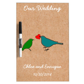 Birds And Love Heart Cute Personalized Wedding Dry Erase Board