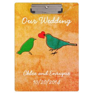Birds and Love Heart Watercolor Wedding Clipboard