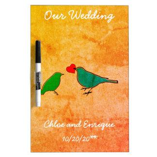 Birds and Love Heart Watercolor Wedding Dry Erase Board