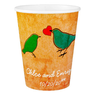 Birds and Love Heart Watercolor Wedding Paper Cup