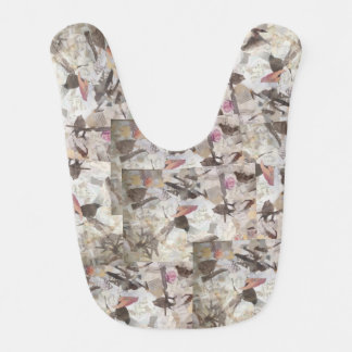 Birds and Music Notes Collage Bib