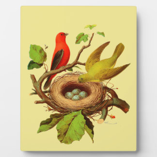 Birds and Nest Tabletop Decorative Plaque