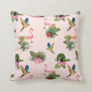 Birds and Palm Tree Leaves Pattern Cushion