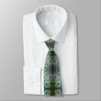 birds and spiral pattern tie