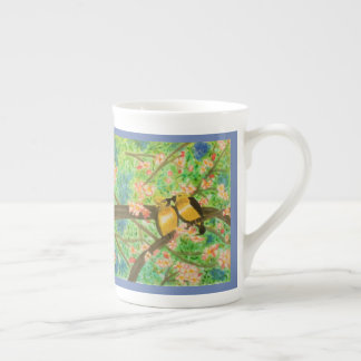 Birds and Spring Blossoms Watercolor Tea Cup