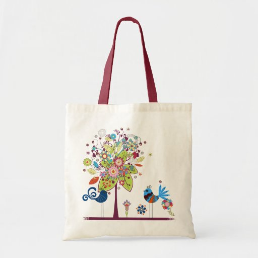 Birds and tree tote bags