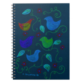 Birds and Vines Art Spiral Notebooks
