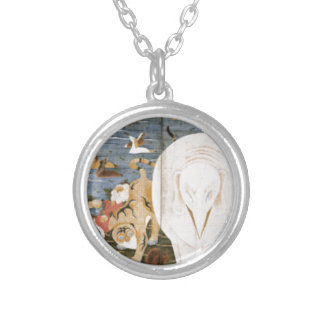 Birds, Animals, and Flowering Plants in Imaginary Round Pendant Necklace