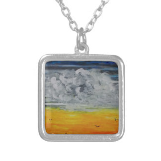 Birds at sunrise silver plated necklace