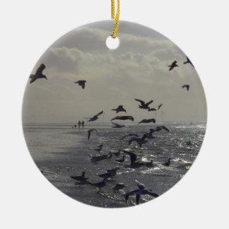 Birds at the Waters Edge Round Ceramic Decoration