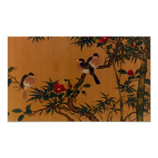 Birds, Bamboo, & Camellias Japanese Art 1644-1911 Poster