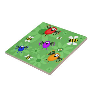 Birds & Bees Small Square Tile