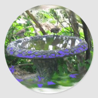 Birds birdbath in trees digital nature photo round sticker