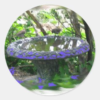 Birds birdbath in trees digital nature photo classic round sticker