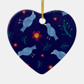 Birds & Blooms on Navy Christmas Ornament