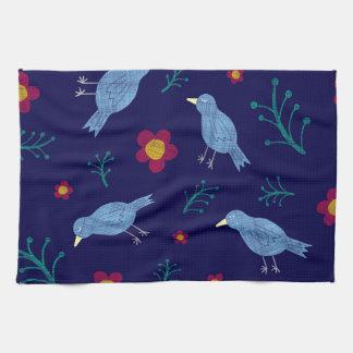 Birds & Blooms on Navy Tea Towel