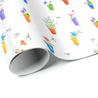 Birds, Blossoms and Flowerpots Wrapping Paper