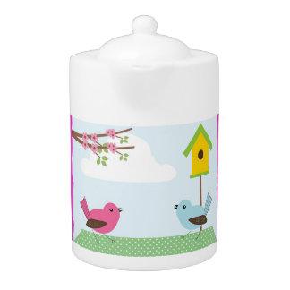 Birds Blue Chevron Tea Pot
