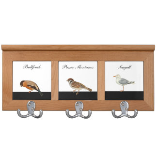 Birds - Bullfinch, Tree sparrow, Seagull Coat Rack