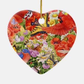 Birds, Butterflies and Bees Heart Ornament