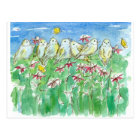 Birds Butterflies Coneflower Watercolor Flowers Postcard