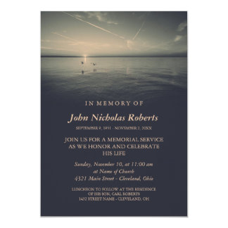 Birds by Ocean Sunrise | Charcoal Memorial Service 13 Cm X 18 Cm Invitation Card