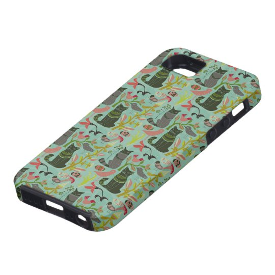 Birds Cats And Flowers Retro Small Pattern iPhone