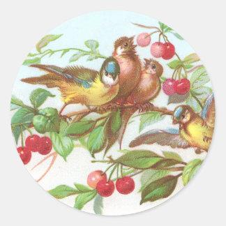 Birds Cherries Victorian Trade Card Round Stickers