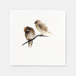 Birds design paper napkins with grey birds home