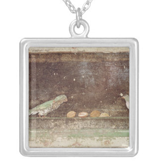 Birds eating nuts silver plated necklace
