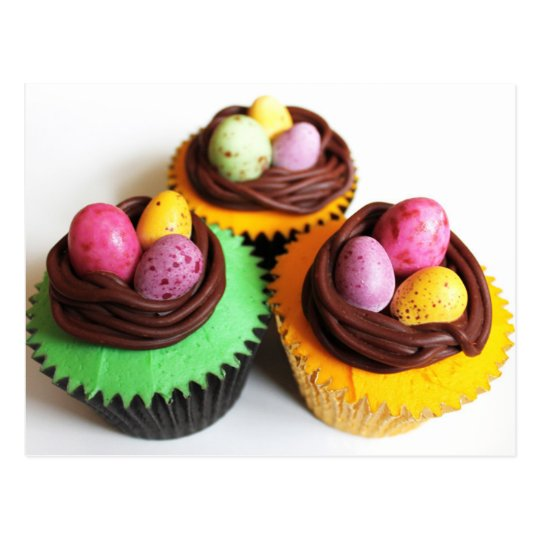 Bird's Eggs Nests Easter Cupcakes Postcard
