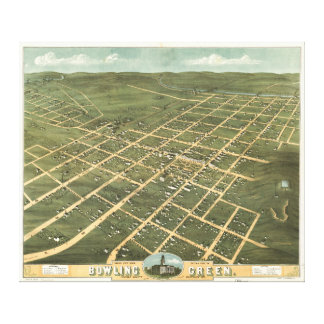 Bird's Eye View Bowling Green Kentucky (1871) Gallery Wrapped Canvas