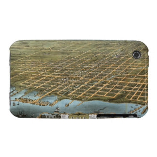 Bird's Eye View City of Erie Pennsylvania 1870 iPhone 3 Case-Mate Cases