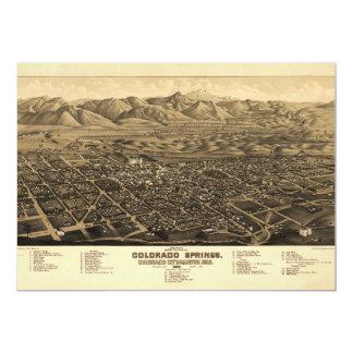 Bird's Eye View Colorado Springs, Colorado (1882) 13 Cm X 18 Cm Invitation Card