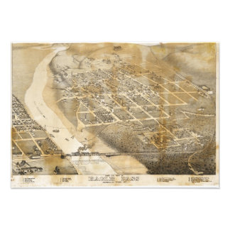 Bird's Eye View Map of Eagle Pass Texas in 1887 Personalized Invite