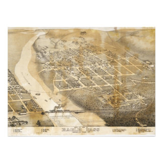 Bird's Eye View Map of Eagle Pass Texas in 1887 Invites