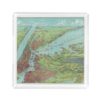 Birds Eye View Map Of New York And Vicinity Acrylic Tray