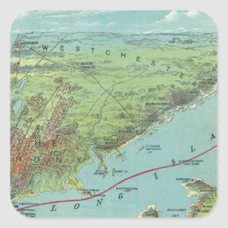 Birds Eye View Map Of New York And Vicinity Square Sticker