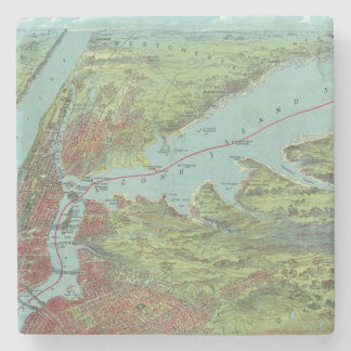 Birds Eye View Map Of New York And Vicinity Stone Coaster