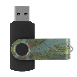 Birds Eye View Map Of New York And Vicinity USB Flash Drive