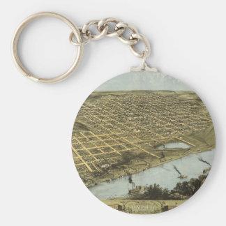 Bird's Eye View Map of Omaha Nebraska (1868) Basic Round Button Key Ring